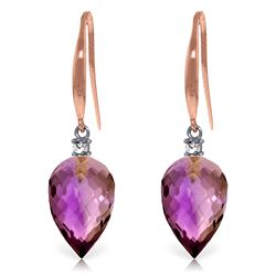 Genuine 19.1 ctw Amethyst & Diamond Earrings Jewelry 14KT Rose Gold - REF-41Y3F