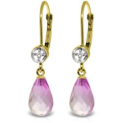Genuine 4.53 ctw Pink Topaz & Diamond Earrings Jewelry 14KT Yellow Gold - REF-29Z3N