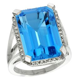 Natural 15.06 ctw Swiss-blue-topaz & Diamond Engagement Ring 14K White Gold - REF-81V9F
