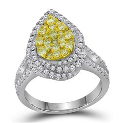 1.27 CTW Canary Yellow Diamond Teardrop Cluster Bridal Ring 14KT White Gold - REF-119X9Y
