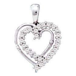 0.25 CTW Diamond Heart Pendant 10KT White Gold - REF-22M4H