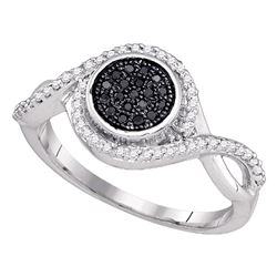 0.20 CTW Black Color Diamond Cluster Ring 10KT White Gold - REF-25M4H