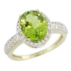 Natural 2.56 ctw Peridot & Diamond Engagement Ring 10K Yellow Gold - REF-37M3H