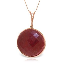 Genuine 23 ctw Ruby Necklace Jewelry 14KT Rose Gold - REF-48X3M