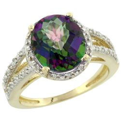 Natural 3.47 ctw Mystic-topaz & Diamond Engagement Ring 10K Yellow Gold - REF-34F7N