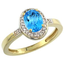 Natural 1.08 ctw Swiss-blue-topaz & Diamond Engagement Ring 14K Yellow Gold - REF-31A3V