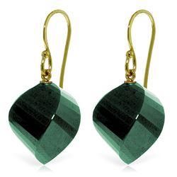 Genuine 30.5 ctw Green Sapphire Corundum Earrings Jewelry 14KT Yellow Gold - REF-39V3W
