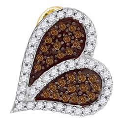 0.33 CTW Cognac-brown Color Diamond Sideways Heart Love Pendant 10KT Yellow Gold - REF-16W4K