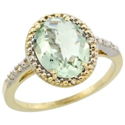 Natural 2.42 ctw Green-amethyst & Diamond Engagement Ring 14K Yellow Gold - REF-34X7A