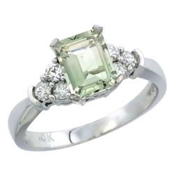 Natural 1.48 ctw green-amethyst & Diamond Engagement Ring 14K White Gold - REF-52H3W