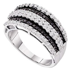 0.82 CTW Black Color Diamond Fashion Ring 10KT White Gold - REF-59M9H