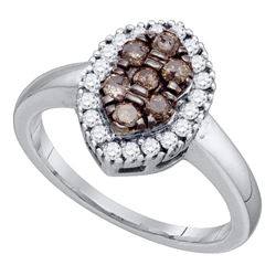 0.50 CTW Cognac-brown Color Cluster Oval-shape Diamond Ring 10KT White Gold - REF-37Y5X