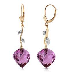 Genuine 21.52 ctw Amethyst & Diamond Earrings Jewelry 14KT Yellow Gold - REF-60W4Y