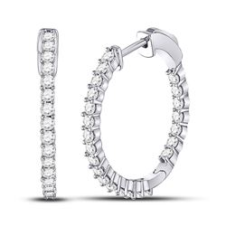 1.45 CTW Diamond Single Row Hoop Earrings 10KT White Gold - REF-101F2N