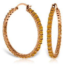 Genuine 6 ctw Citrine Earrings Jewelry 14KT Rose Gold - REF-104X8M
