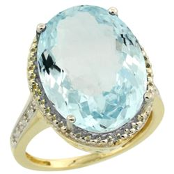 Natural 13.6 ctw Aquamarine & Diamond Engagement Ring 14K Yellow Gold - REF-236V2F