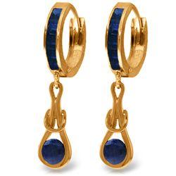 Genuine 2.6 ctw Sapphire Earrings Jewelry 14KT Rose Gold - REF-84H3X
