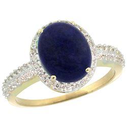 Natural 2.56 ctw Lapis & Diamond Engagement Ring 14K Yellow Gold - REF-39R8Z