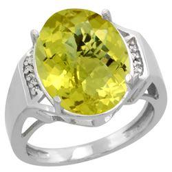 Natural 11.02 ctw Lemon-quartz & Diamond Engagement Ring 10K White Gold - REF-44K7R