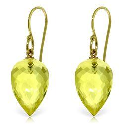 Genuine 18 ctw Quartz Lemon Earrings Jewelry 14KT Yellow Gold - REF-22M2T