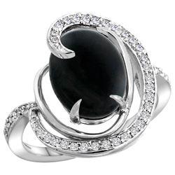 Natural 2.54 ctw onyx & Diamond Engagement Ring 14K White Gold - REF-65M8H