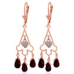 Genuine 6.33 ctw Garnet & Diamond Earrings Jewelry 14KT Rose Gold - REF-52T3A