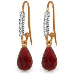 Genuine 17.78 ctw Ruby & Diamond Earrings Jewelry 14KT Rose Gold - REF-47A5K