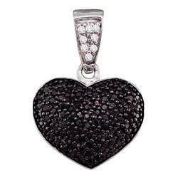 0.55 CTW Black Color Diamond Heart Cluster Pendant 10KT White Gold - REF-24M2H
