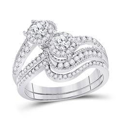 1.03 CTW Diamond 2-stone Bridal Wedding Engagement Ring 14KT White Gold - REF-134N9F