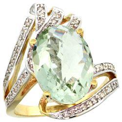 Natural 5.76 ctw green-amethyst & Diamond Engagement Ring 14K Yellow Gold - REF-92V7F