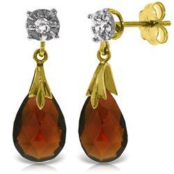 Genuine 6.06 ctw Garnet & Diamond Earrings Jewelry 14KT Yellow Gold - REF-37K4V