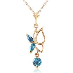 Genuine 0.40 ctw Blue Topaz Necklace Jewelry 14KT Yellow Gold - REF-22X2M