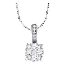 0.23 CTW Diamond Circle-shape Larissa Cluster Pendant 18KT White Gold - REF-41X9Y