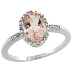 Natural 1.2 ctw Morganite & Diamond Engagement Ring 14K White Gold - REF-27Z9Y