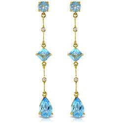 Genuine 6.06 ctw Blue Topaz & Diamond Earrings Jewelry 14KT Yellow Gold - REF-33M8T