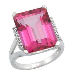 Natural 12.13 ctw Pink-topaz & Diamond Engagement Ring 10K White Gold - REF-55N8G