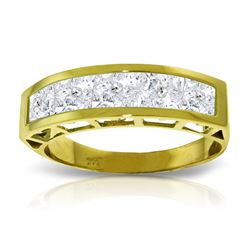 Genuine 2.25 ctw White Topaz Ring Jewelry 14KT Yellow Gold - REF-54H2X