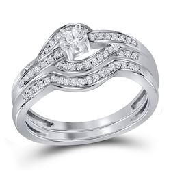 0.36 CTW Diamond Bridal Wedding Engagement Ring 10KT White Gold - REF-44N9F