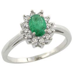 Natural 0.72 ctw Emerald & Diamond Engagement Ring 10K White Gold - REF-42A2V