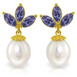 Genuine 9.5 ctw Tanzanite & Pearl Earrings Jewelry 14KT Yellow Gold - REF-43V4W