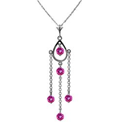 Genuine 1.50 ctw Pink Topaz Necklace Jewelry 14KT White Gold - REF-29T7A
