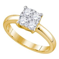 0.35 CTW Diamond Cluster Bridal Engagement Ring 18KT Yellow Gold - REF-87Y2X