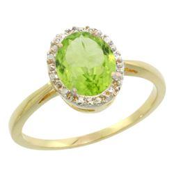 Natural 1.41 ctw Peridot & Diamond Engagement Ring 10K Yellow Gold - REF-20Y9X
