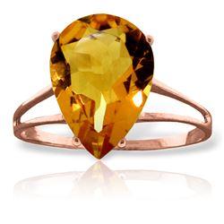 Genuine 5 ctw Citrine Ring Jewelry 14KT Rose Gold - REF-34R3P