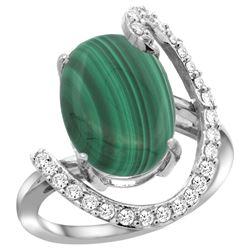 Natural 7.41 ctw Malachite & Diamond Engagement Ring 14K White Gold - REF-85G6M
