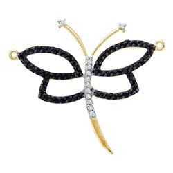 0.43 CTW Black Color Diamond Dragonfly Bug Pendant 14KT Yellow Gold - REF-25X4Y