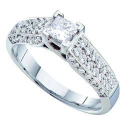 0.88 CTW Princess Diamond Solitaire Bridal Engagement Ring 14KT White Gold - REF-127H4M