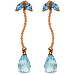 Genuine 3.4 ctw Blue Topaz Earrings Jewelry 14KT Rose Gold - REF-21V6W