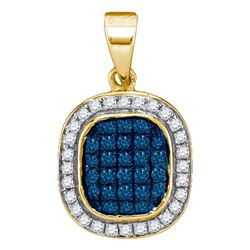 0.25 CTW Blue Color Diamond Oval Cluster Pendant 10KT Yellow Gold - REF-14F9N