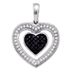 0.20 CTW Black Color Diamond Heart Love Anniversary Pendant 10KT White Gold - REF-19K4W
